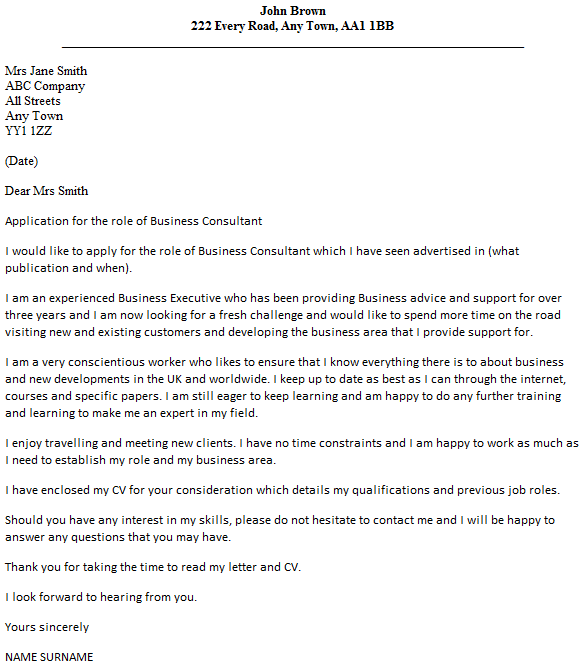 business consultant cover letter example icover education ...