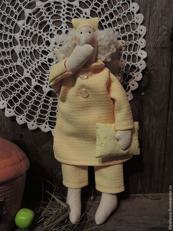 Купить Текстильная кукла тильда сонный ангел Сплюшка - желтый, куклы, куклы Тильда