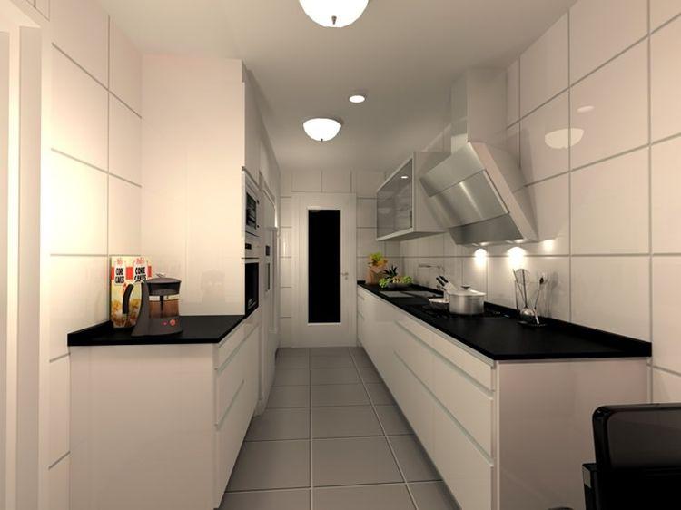 cocina estrecha en blanco
