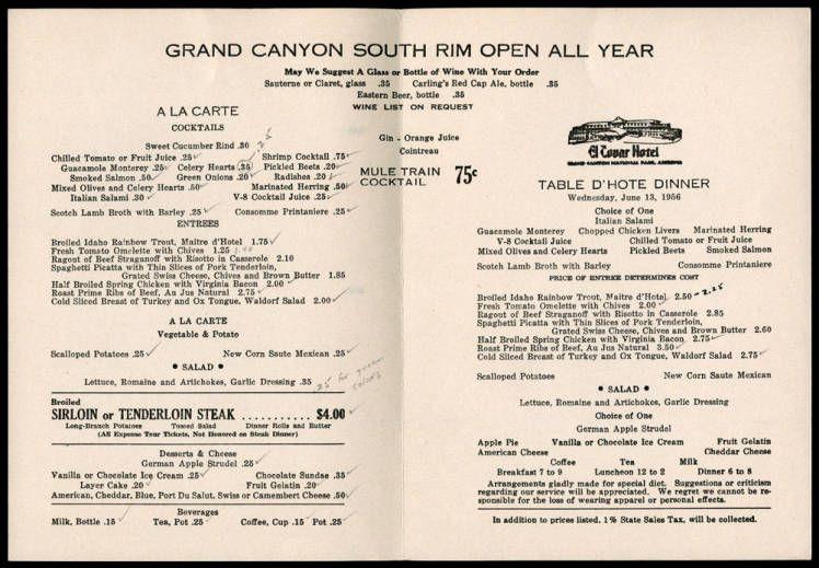 El Tovar Dinner Menu Fred Harvey The AT\SF Railroad \ Tourism in - dinner menu