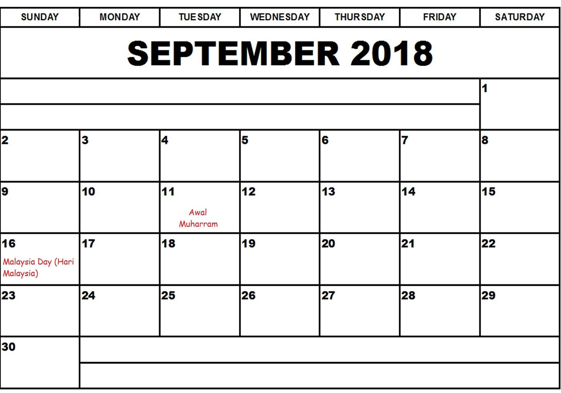 September 2018 Calendar With Holidays Malaysia September Calendar