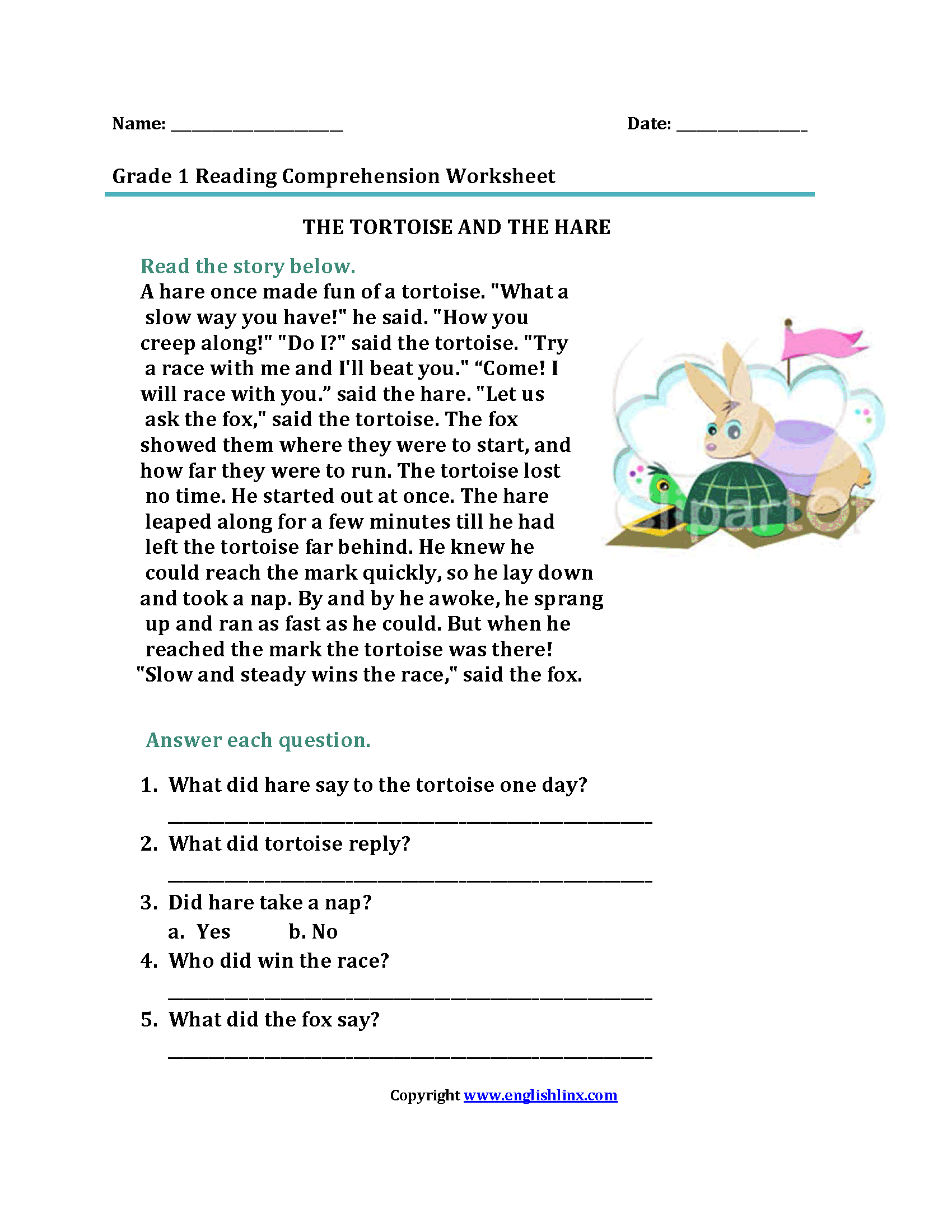 Tortoise And The Hare First Grade Reading Worksheets