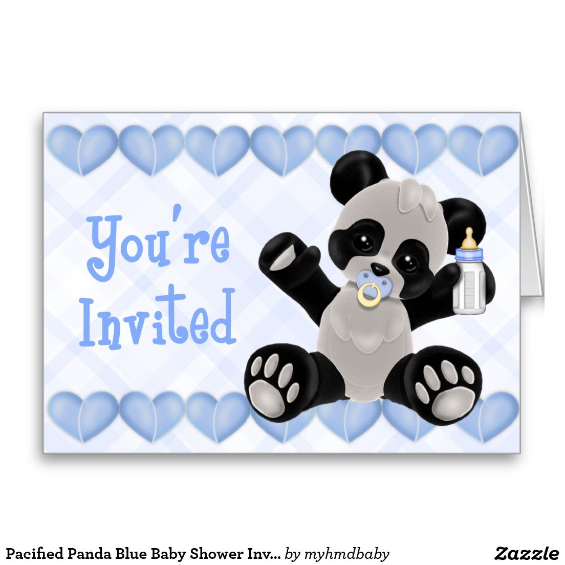 Pacified Panda Blue Baby Shower Invitation Greeting Card | Baby Boy ...