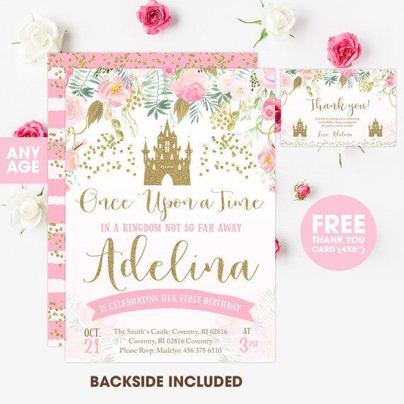 Princess Invitation Birthday Glitter Pink Gold Invite G