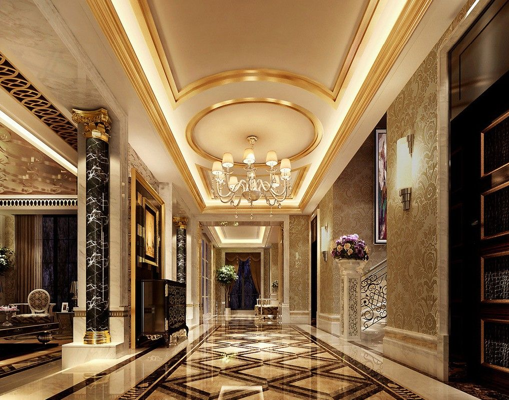Luxury style luxury palace style villa corridor 3d for Luxury house plans with photos of interior