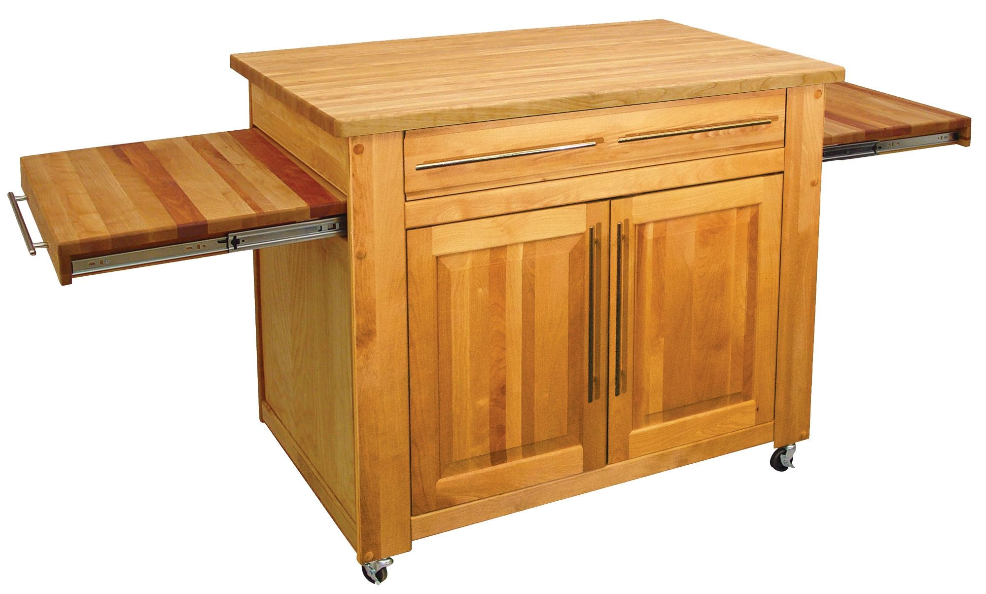 Portable kitchen island with butcher block top navigator