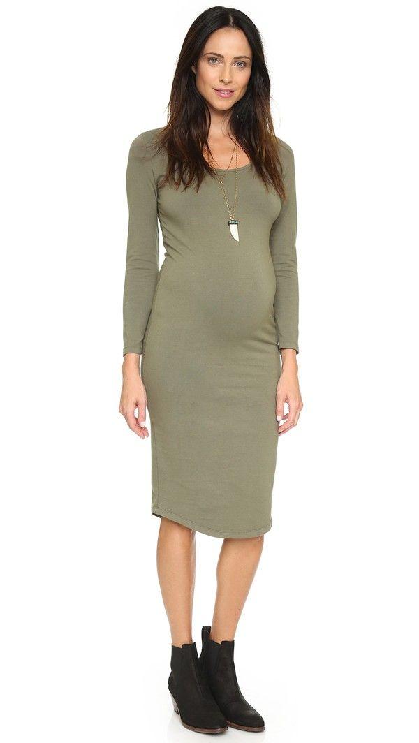 e2b7dfdf2eebb Monrow Maternity Long Sleeve Dress - Hunter | FashionToDieFor ...