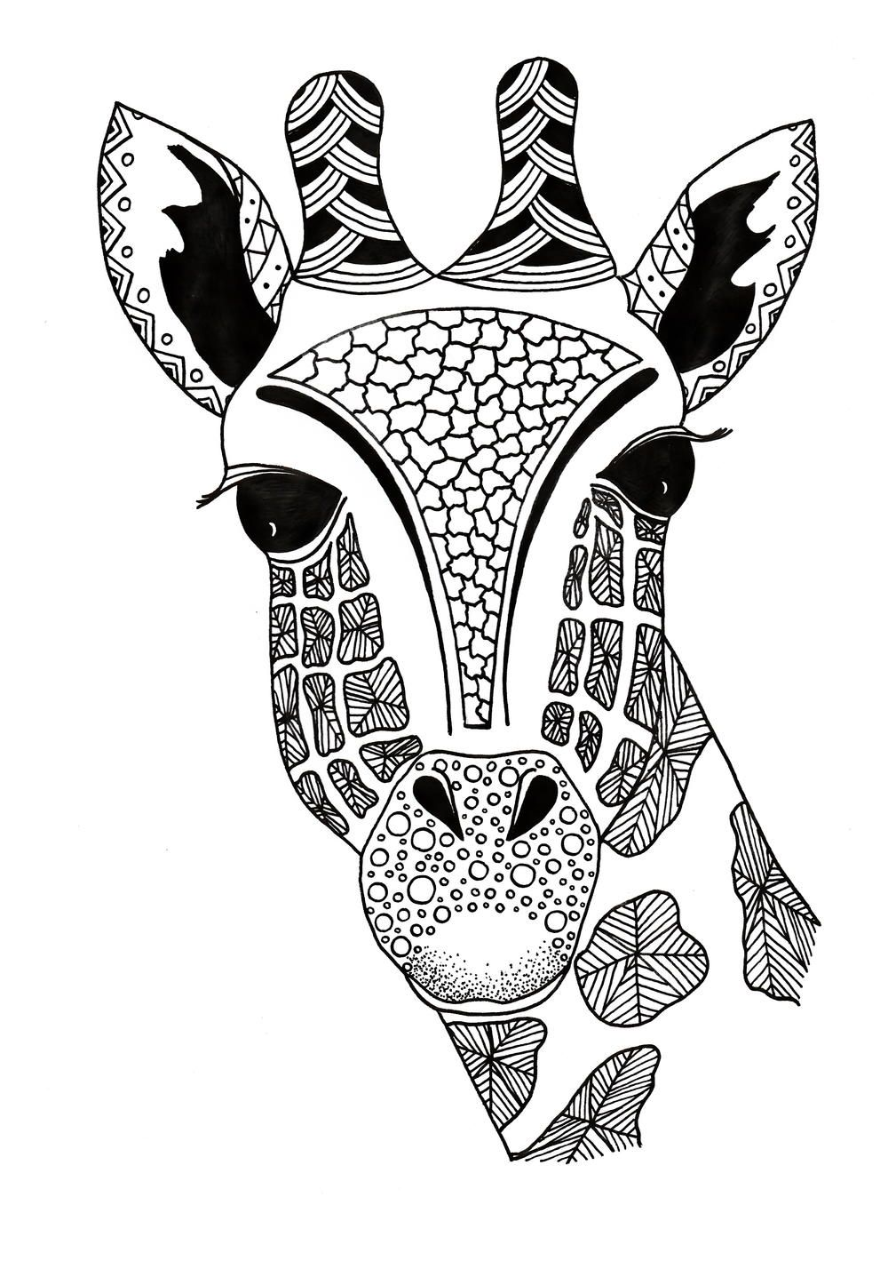 This FREE giraffe coloring page is filled with intricate