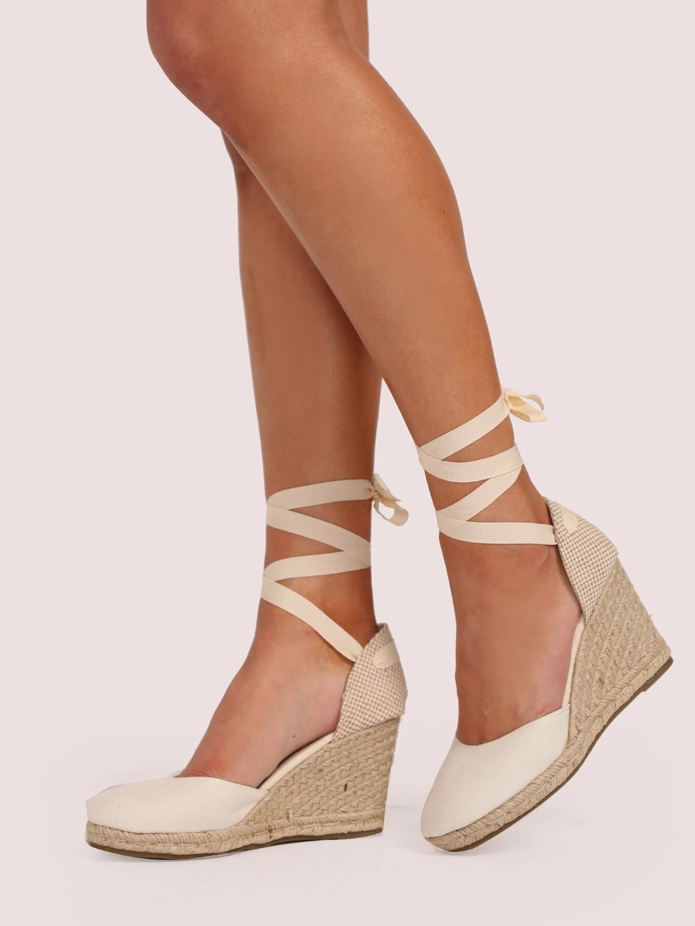 closed toe tie up wedges