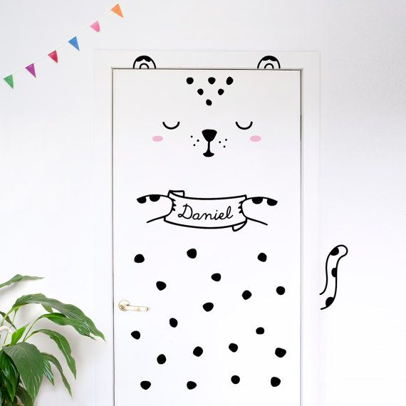 Personalisierte Tür Aufkleber Luca der Leopard / Custom