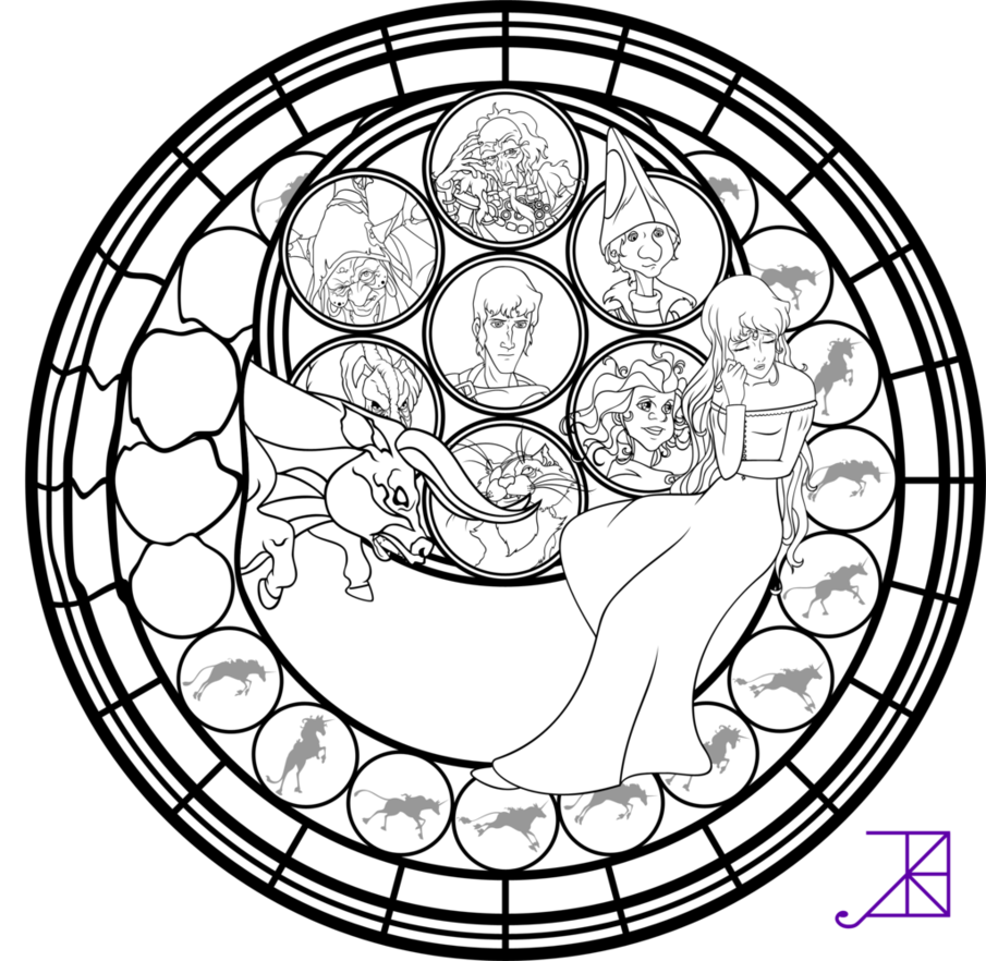 Amalthea Stained Glass Coloring Page By Akili Amethyst Nerdy And