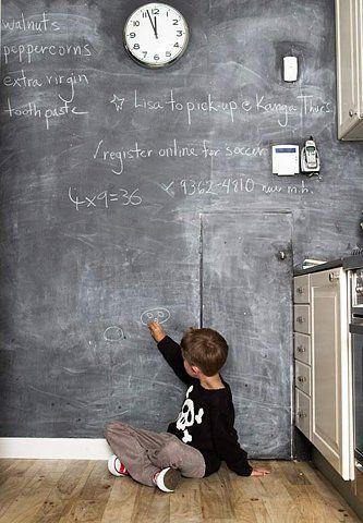 Blackboard full walls with worn wood flooring. Nice combo