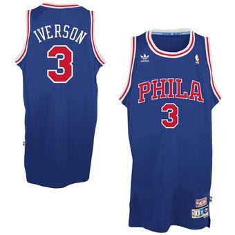 c3412a00f Mens Philadelphia 76ers Allen Iverson adidas Royal Blue Hardwood Classics  Swingman Jersey