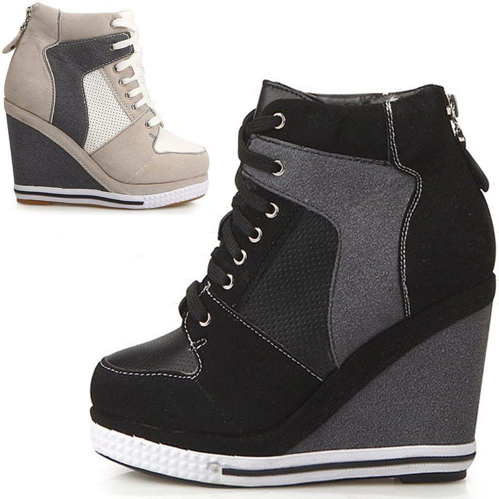 77c7f57504d Womens ladies platform wedge booties high heels sneakers shoes lace up US  7~8  unbranded  PlatformsWedges