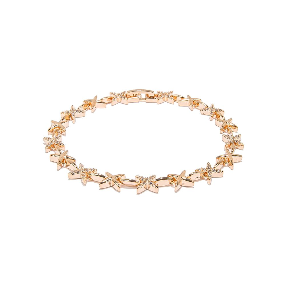 Rose Gold Plated Flower Link Chain Bracelets Jewelry for Women