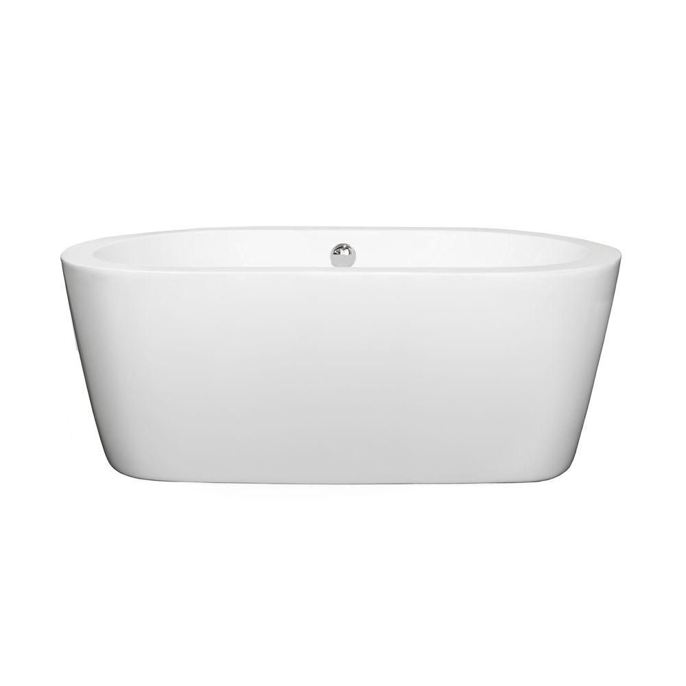 Wyndham Collection Mermaid 5 Ft Center Drain Soaking Tub In White