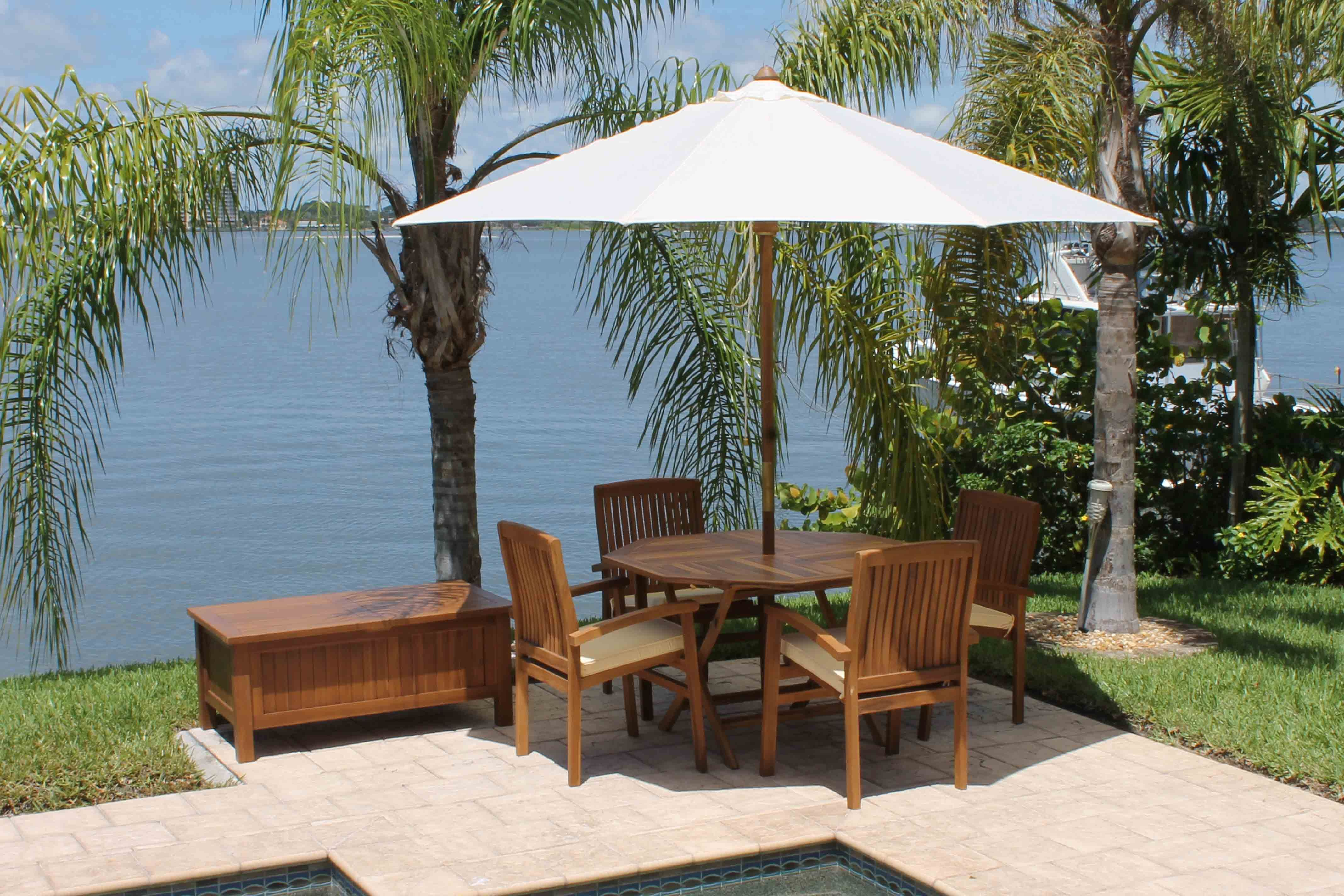 SALE Caspian Hexagonal Table U0026 4 Pacific Chair Teak Set | Oceanic Teak  Furniture