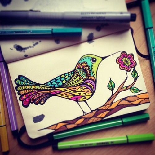 Happy colorfull bird! This would be a nice tattoo