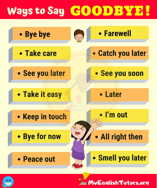 20 Funny Ways To Say Goodbye Learn English English Vocabulary Learn English Words
