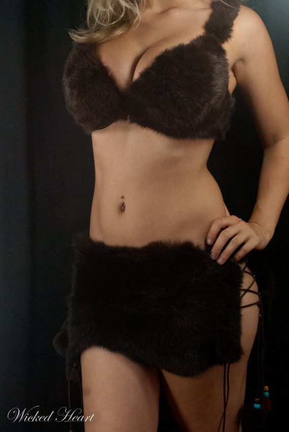 Cave Girl Costume fur bra and skirt by Wickedheart on Etsy