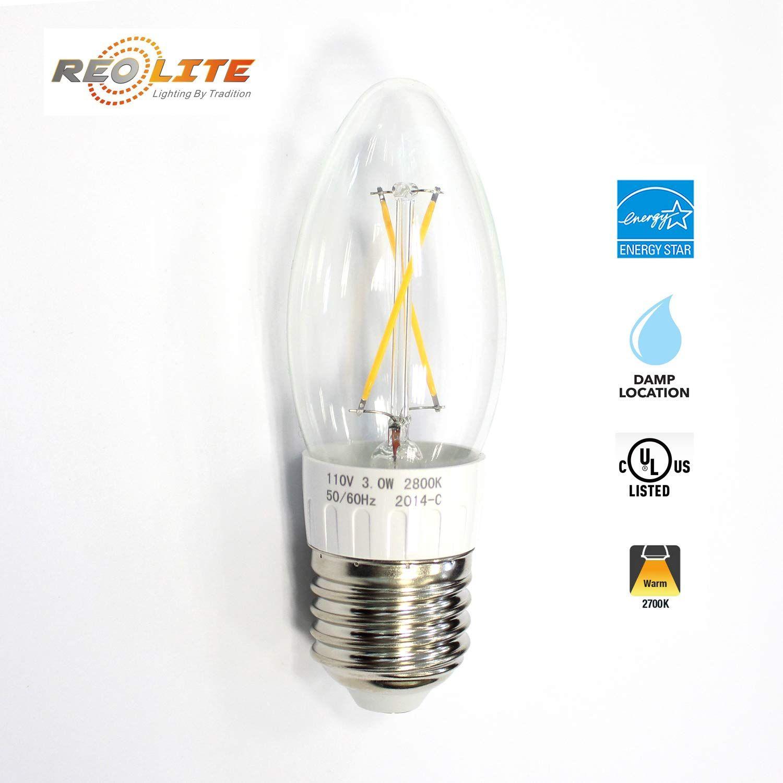 10 Pack Reolite Dimmabel Led Filament B10 Candelabra Light Bulb Clear Glass 4 Watt 40 Watt Equivalent Medium Base E26 2700k Wa Light Bulb Bulb Candelabra Light
