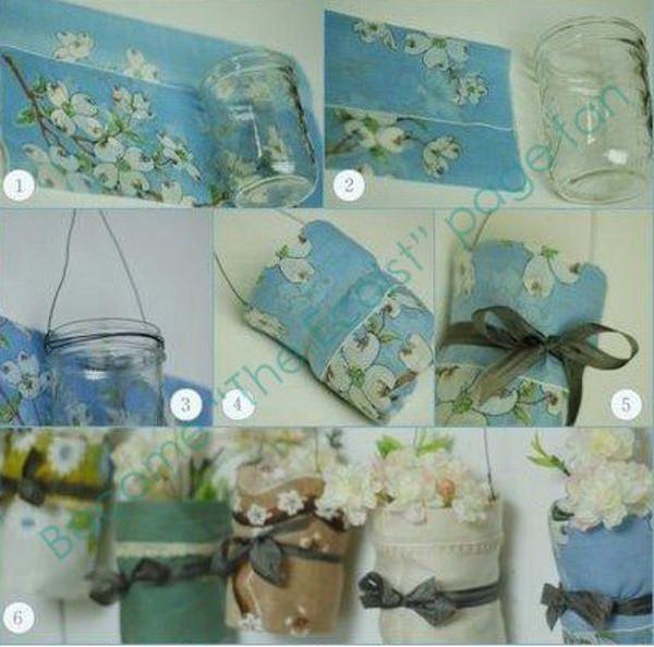 Decorare vasi barattoli bicchieri stoffa e palloncini barattoli di vetro diy hanging - Decorare bicchieri di vetro ...