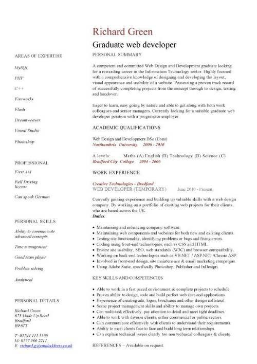 Resume Template Graduate Gorgeous Graduate_Web_Developer_Cv_Example1 500×708  Templates For .