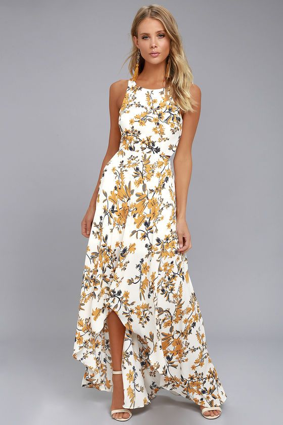 b2072956291 We have a budding romance with the Ali & Jay Bohemian Rhapsody Cream Floral  Print Maxi Dress! Woven poly, with a lovely golden yellow and green floral  print ...