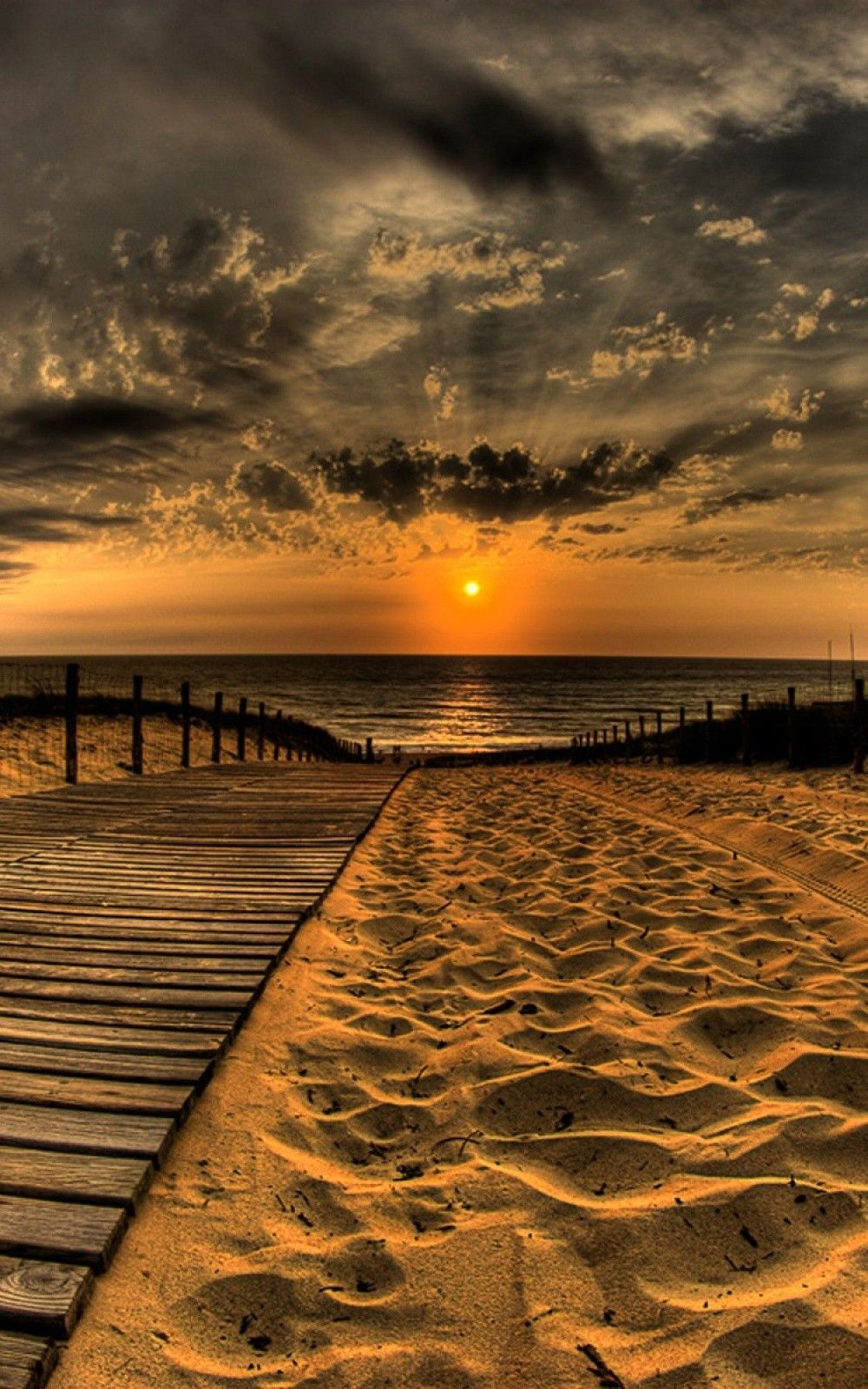 Nature iPhone 6 Plus Wallpapers Wooden Path Sea Sunset