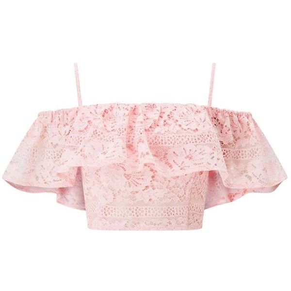 ca632eb3db853f Miss Selfridge Pink Lace Bardot Crop Top (76 CAD) ❤ liked on Polyvore  featuring tops