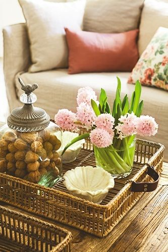 basket tray on coffee table or ottoman