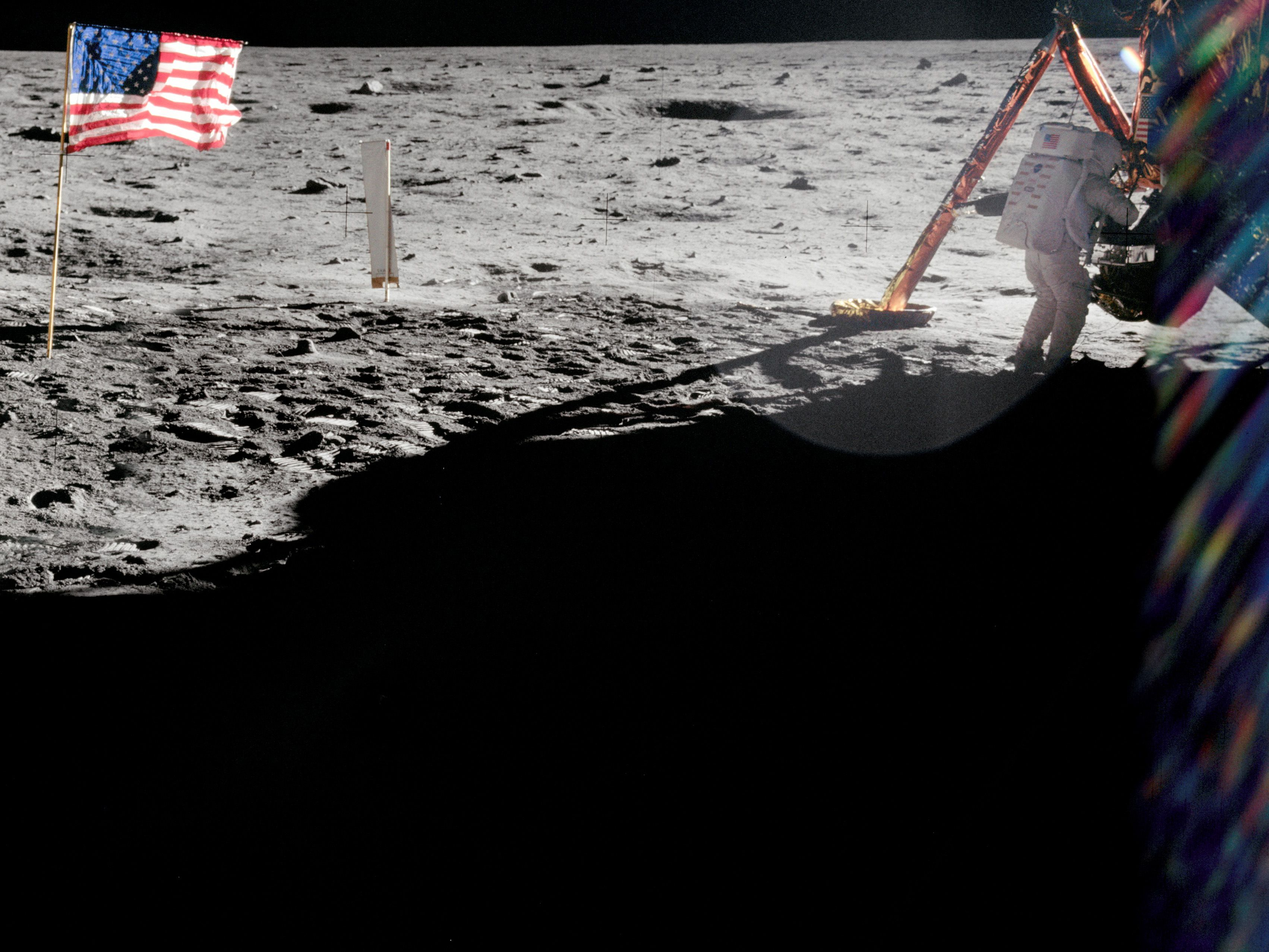 1969 NASA Buzz Aldrin Waving to the American flag Poster