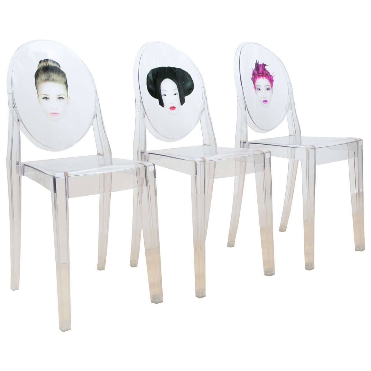 Set of Three Victoria Ghost Chairs Exclusively Designed by Philippe ...