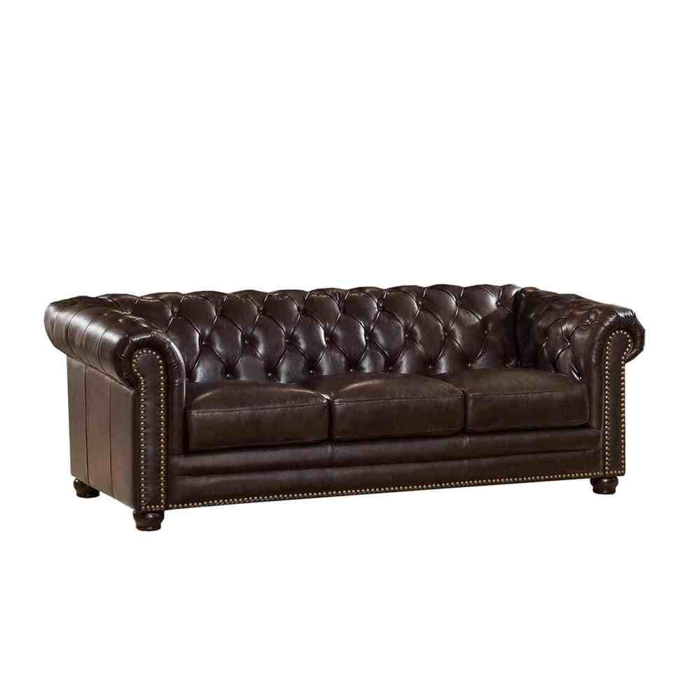 Top Grain Brown Leather Chesterfield Sofa With Feather Down Seating Ebay With Top Gra Leather Chesterfield Sofa Top Grain Leather Sofa Leather Chesterfield