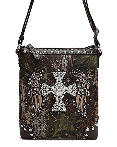 Brown Camo Wings And Cross Rhinestone Hipster Body Purse Handbag Incorporated