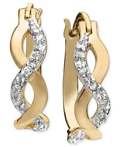 Diamond Infinity Earrings in 18k Gold and Sterling Silver (1/10 ct. t.w.) - Earrings - Jewelry & Watches - Macy's