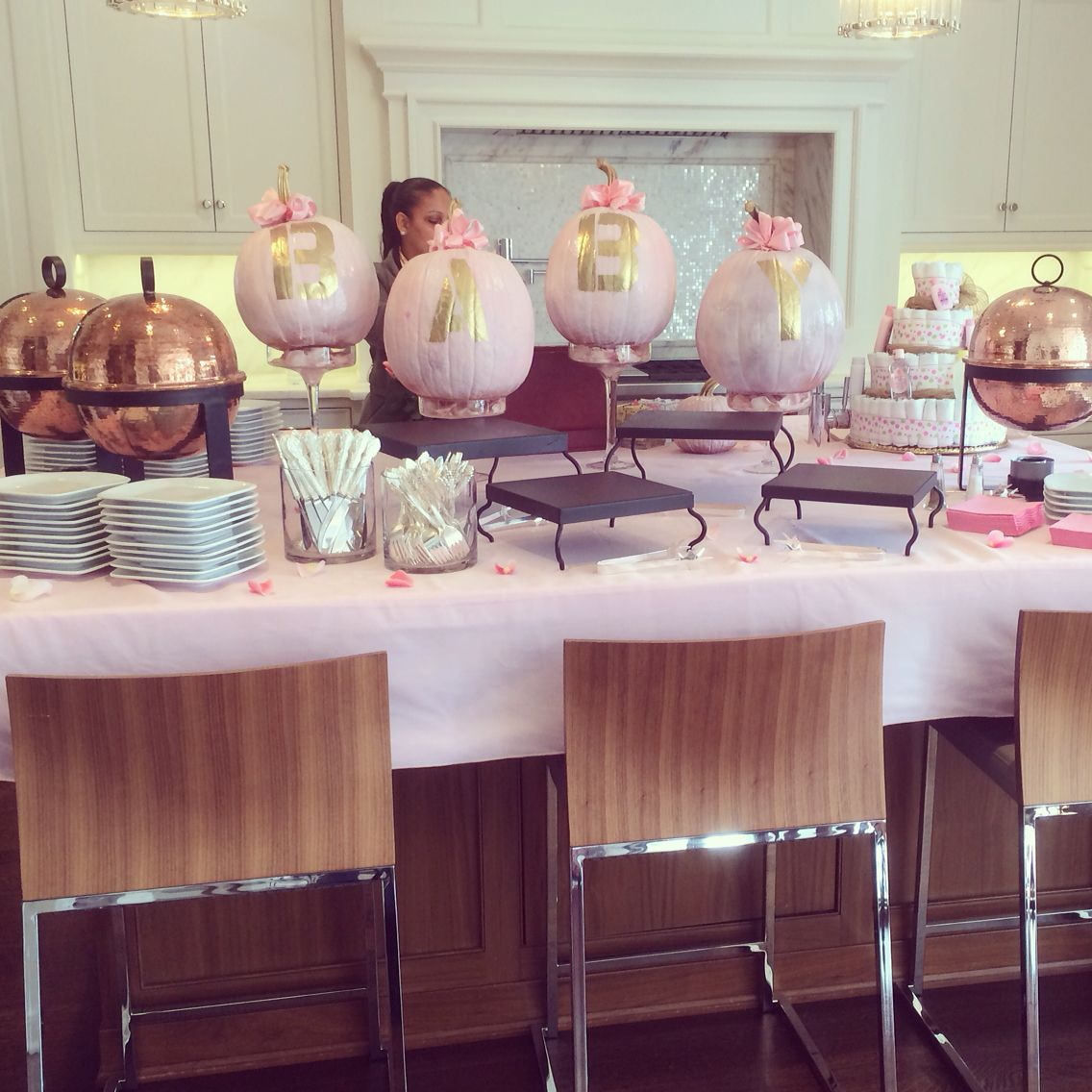 Baby Shower Food Display With Pumpkin Decor Colors Were