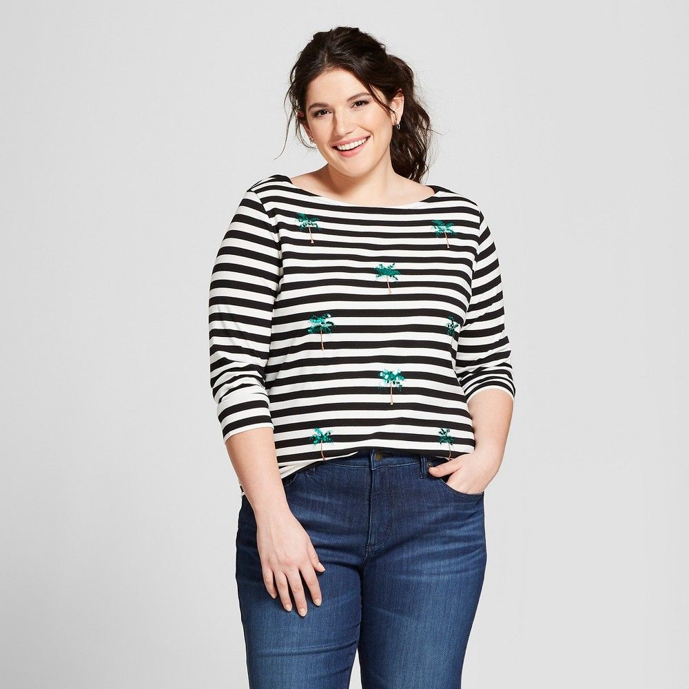 f3f886622 Women's Plus Size Striped Sequin Palm Trees Boatneck 3/4 Sleeve T-Shirt - A  New Day Black/White 1X