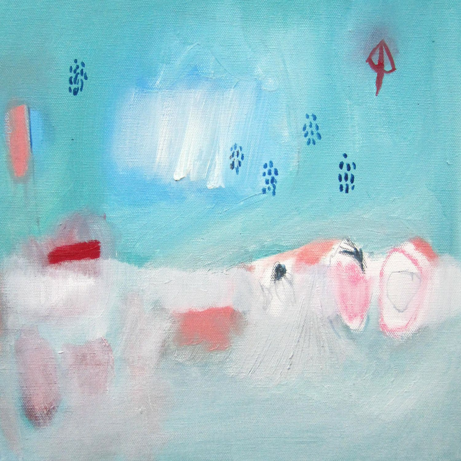 ABSTRACT painting, Oil painting, turquoise, landscape, green, red, modern art. $95,00, via Etsy.