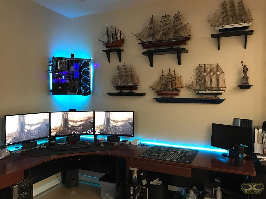 Computer Setup Gaming Pc Gamer Desk Ideas Man Caves Rigs Game Room