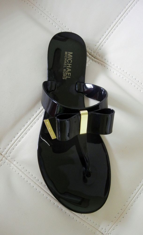 a78ea044cae97e New Michael Kors Kayden Bow Thong Jelly Sandals Black Size 8M   MichaelKors   TStrap