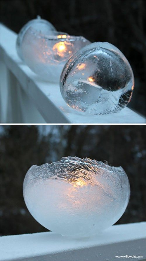 7 Crafty Outdoor Projects with Ice • Lots of great tutorials! Including, from 'willowday', learn how to make these beautiful ice lanterns.