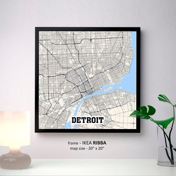 Detroit Michigan Map Print Detroit Square Map Poster Detroit Wall Art Detroit t Custom Person