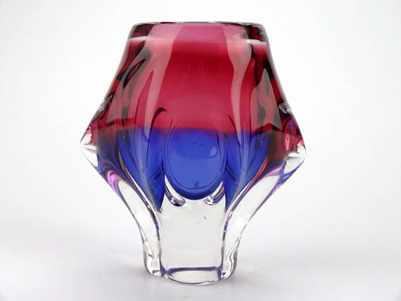 Bohemian Mid Century Pink And Purple Glass Vase By Josef Hospodka