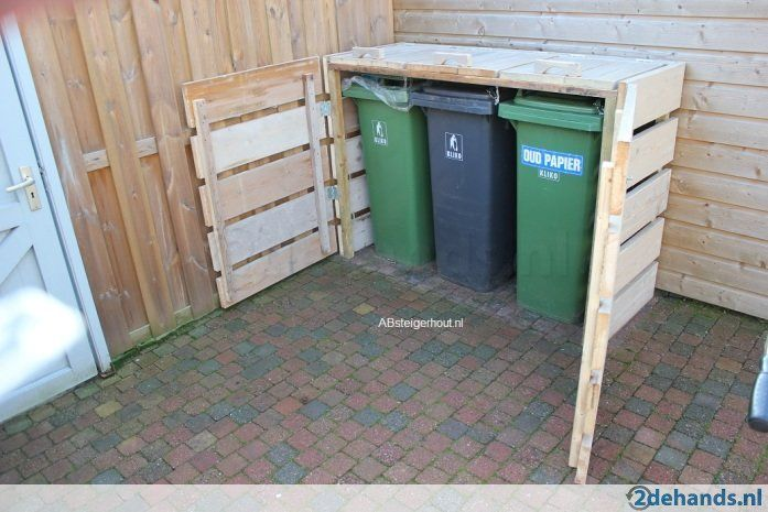 outdoor wooden garbage can storage bin how to build a shed out of pallets home sweet home in. Black Bedroom Furniture Sets. Home Design Ideas