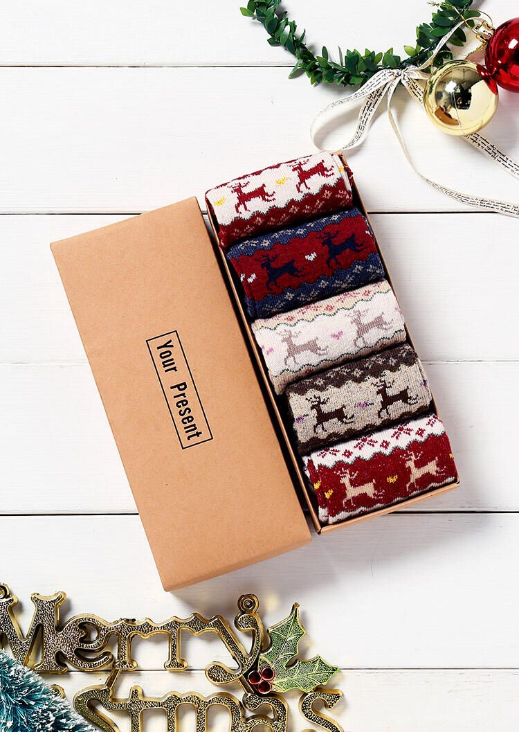 5 Pairs Christmas Elk Thickened Warm Socks with Gift Box