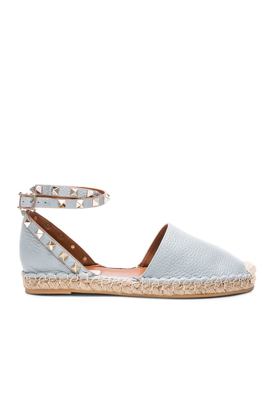 8491f5096c5 VALENTINO Rockstud Double Flat Leather Espadrilles.  valentino  shoes