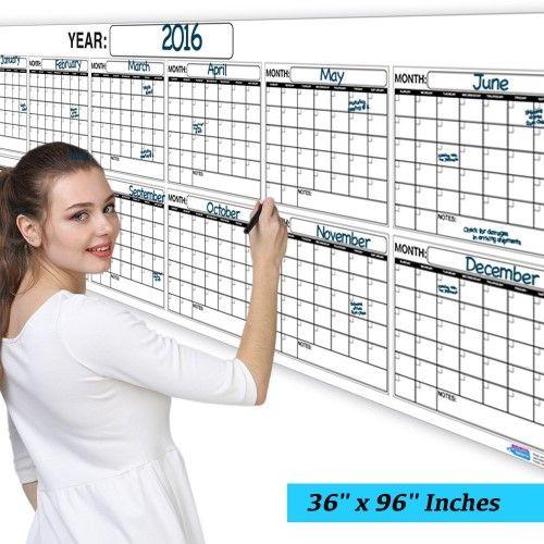 Jumbo Wet Or Dry Erase Plan Wall Calendar Laminated 12 Month Planner 36x96 Dry Erase Calendar Wet Dry Monthly Planner