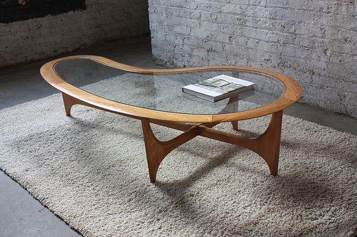 Organic Mid Century Lane Biomorphic Coffee Table Walnut Glass