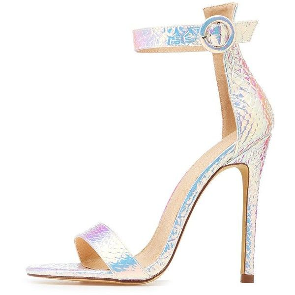 17fb0d63c6b Charlotte Russe Holographic Faux Snakeskin Two Piece Sandals ( 25) ❤ liked  on Polyvore featuring